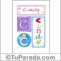 Nombre Cindy para imprimir carteles