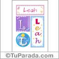 Nombre Leah para imprimir carteles