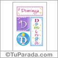 Dominga, nombre, imagen para imprimir