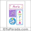 Auria, nombre, imagen para imprimir