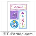 Nombre Alanis para imprimir carteles