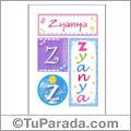 Zyanya, nombre, imagen para imprimir