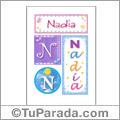 Nombre Nadia para imprimir carteles