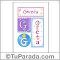 Greta, nombre, imagen para imprimir