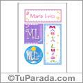 María Luisa, nombre, imagen para imprimir