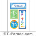 Pritham, nombre, imagen para imprimir