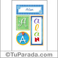 Alan, nombre, imagen para imprimir