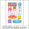 Nombre Nuria para stickers