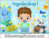 Ecards: Expandable baby boy ecard