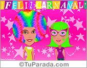 Tarjeta con disfraces de carnaval