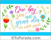 Tarjetas, postales: Tarjeta para un gran día con flores