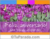 Tarjeta de aniversario con tulipanes