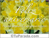 Postal de aniversario con flores amarillas
