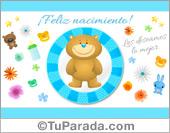 Tarjeta para nacimiento celeste con oso