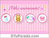 Tarjeta rosa suave para beba