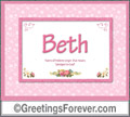 Meaning of Beth to print or send