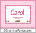 Meaning of Carol to print or send