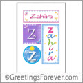Name Zahira and initials