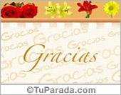 Gracias - Tarjetas postales: Gracias con guarda y flores