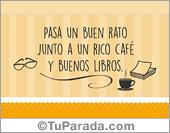 Tarjetas, postales: Buenos libros y un rico café