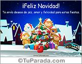 Tarjeta - Feliz Navidad con ositos y pino