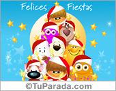 Tarjeta - Felices fiestas con personajes