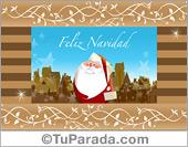 Tarjeta - Tarjeta con Papá Noel y casas