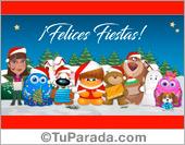 Tarjeta de Navidad, felicidades de parte de todos.