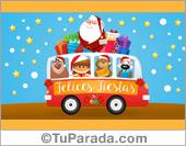 Tarjeta de Navidad con Papá Noel sobre ruedas.