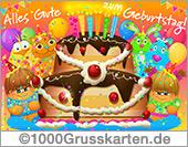 E-Card - Geburtstagskarte mit Kuchen