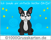 Hund mit virtuellen Gruß