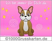 E-Card - Hund mit virtuellen Gruß in rosa