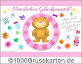Rosa Baby E-Card mit Bär