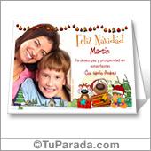 Tarjeta con foto de Navidad y personajes