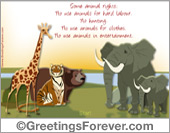 Protection of animals - Greeting ecards: Protect them ecard