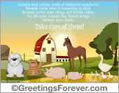 Protection of animals - Greeting ecards: Animals need Love