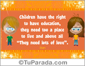 The rights of children ecard