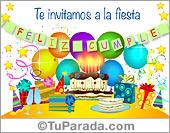 Invitaciones para cumpleaños - Tarjetas postales: Invitación con torta de cumpleaños