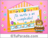 Invitaciones para cumpleaños - Tarjetas postales: Invitación de cumpleaños con sobre