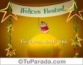 Tarjetas postales: Felices Fiestas con mundo.