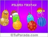 Tarjetas postales: Tarjeta de felices fiestas alegre y adornos