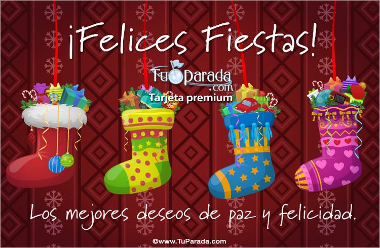 Tarjeta con botas navide as felices fiestas tarjetas - Dibujos tarjetas navidenas ...