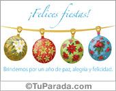 Tarjeta - Felices fiestas con adornos decorados