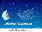 Muchas felicidades con oso en luna