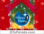 Tarjetas postales: Felices Fiestas con adorno azul