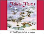 Felices fiestas con paisaje nevado