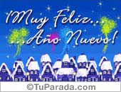 Tarjetas postales: Muy feliz año con pueblo navideño