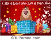 Tarjetas postales: Tarjeta de feliz año nuevo con oso