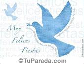 Tarjeta - Paloma de la paz en celeste pastel
