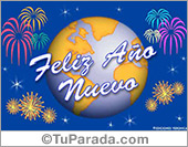 Tarjetas postales: Feliz año nuevo con mundo festivo